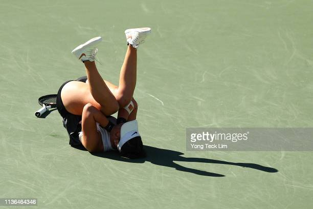 Bianca Andreescu of Canada celebrates her women's singles final victory against Angelique Kerber of Germany on Day 14 of the BNP Paribas Open at the...