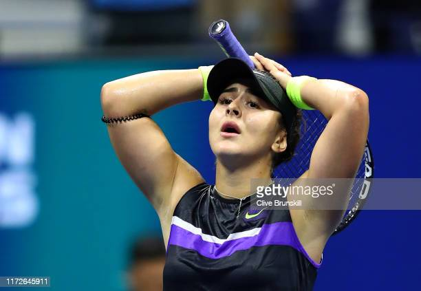 Bianca Andreescu of Canada celebrates match point after a straight sets victory in her Women's Singles semi-final match against Belinda Bencic of...