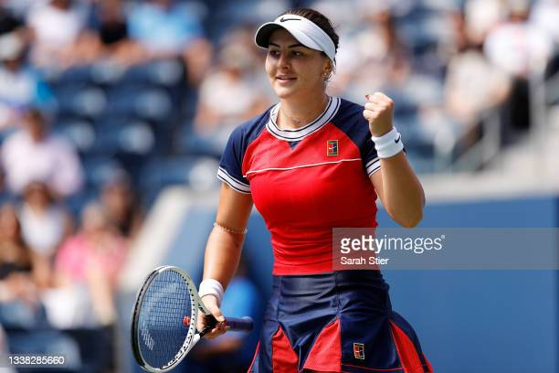 Bianca Andreescu of Canada celebrates match point against Greet Minnen of Germany during her Women's Singles third round match on Day Six of the 2021...