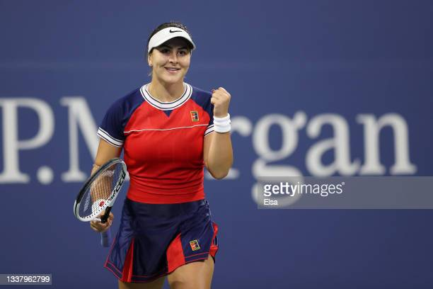 Bianca Andreescu of Canada celebrates match point against Lauren Davis of the United States during her Women's Singles second round match on Day Four...