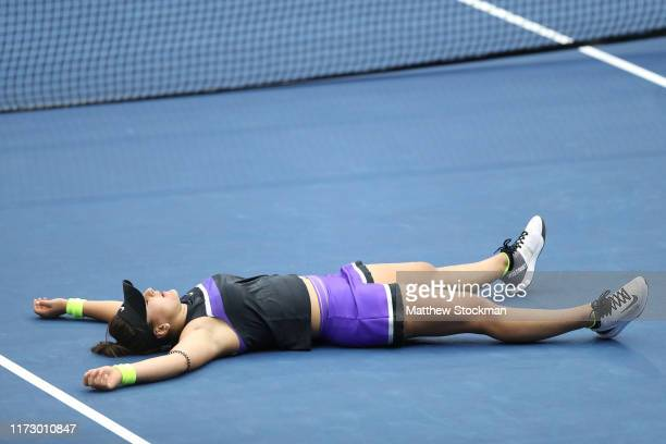 Bianca Andreescu of Canada celebrates winning the Women's Singles final match against Serena Williams of the United States on day thirteen of the...