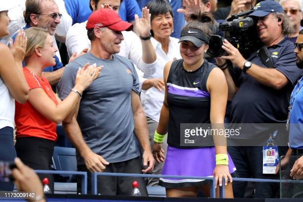 Bianca Andreescu of Canada celebrates with coach Sylvain Bruneau after winning the Women's Singles final against Serena Williams of the United States...