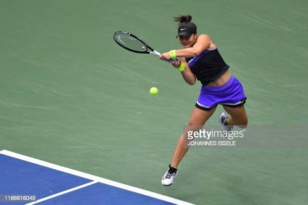 Bianca Andreescu of Canada hits a return against Serena Williams of the US during the Women's Singles Finals match at the 2019 US Open at the USTA...
