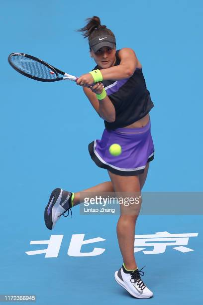 Bianca Andreescu of Canada in action against Aliaksandra Sasnovich of Belarus during the Women's singles first round of 2019 China Open at the China...