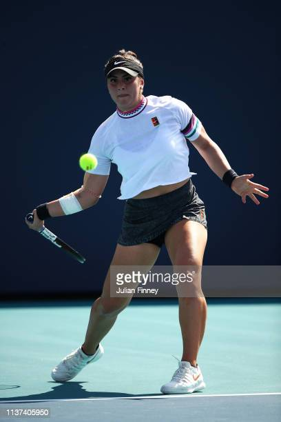 Bianca Andreescu of Canada in action against IrinaCamelia Begu of Romania during day four of the Miami Open tennis on March 21 2019 in Miami Gardens...
