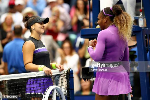 Bianca Andreescu of Canada is congratulated by Serena Williams of the United States after winning the Women's Singles final match on day thirteen of...