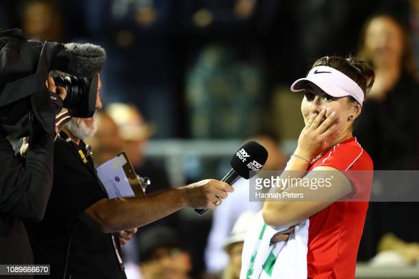 Bianca Andreescu of Canada is interviewed after winning her quarter final match against Venus Williams of USA on January 04 2019 in Auckland New...