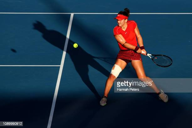 Bianca Andreescu of Canada plays a backhand during her semi final game against Suwei Hsieh of China at the ASB Classic on January 05 2019 in Auckland...