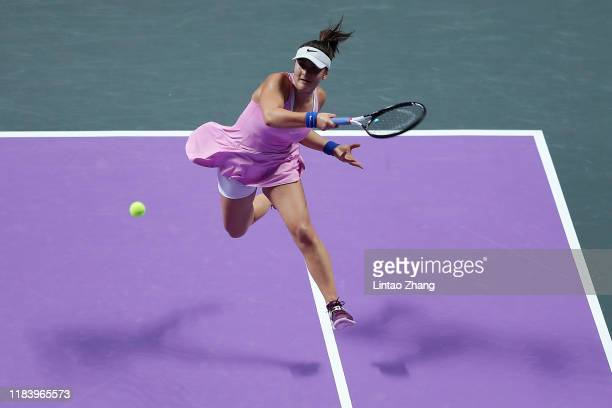 Bianca Andreescu of Canada plays a forehand against Simona Halep of Romania during their Women's Singles match on Day Two of the 2019 Shiseido WTA...