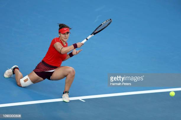 Bianca Andreescu of Canada plays a forehand during her semi final game against Suwei Hsieh of China at the ASB Classic on January 05 2019 in Auckland...