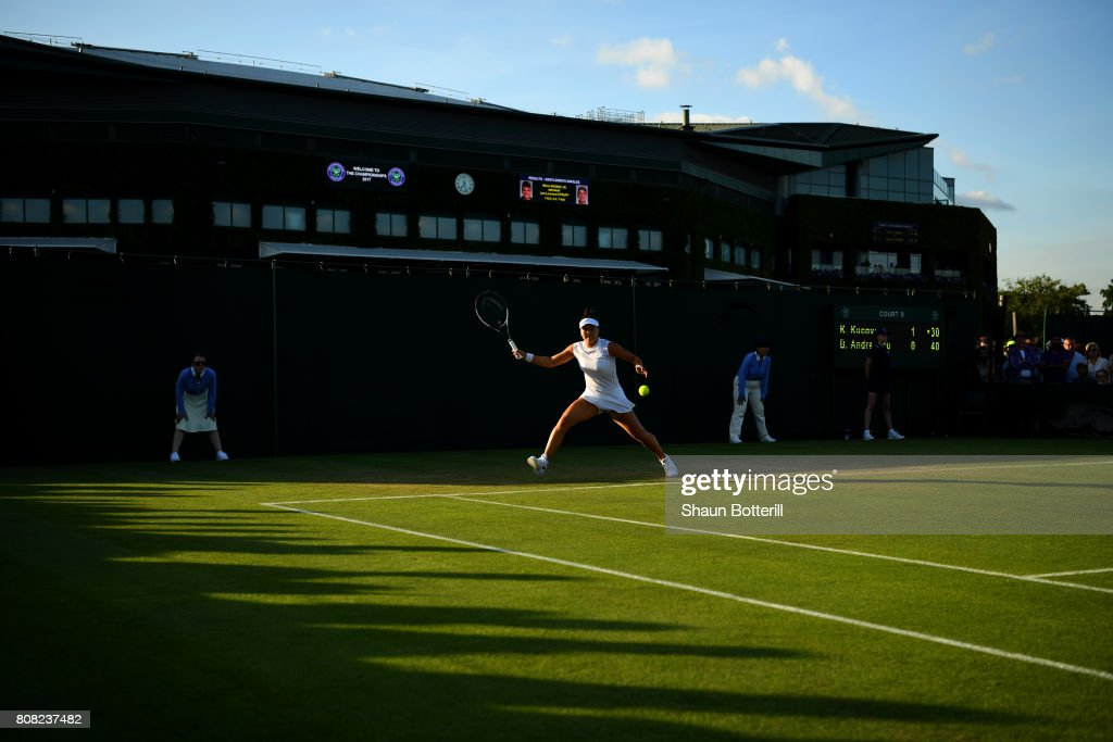Bianca Andreescu of Canada plays a forehand during the Ladies Singles first round match against Kristina Kucova of Slovakia on day two of the Wimbledon Lawn Tennis Championships at the All England Lawn Tennis and Croquet Club on July 4, 2017 in London, England.