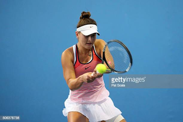Bianca Andreescu of Canada plays a forehand in her first round juniors match against Satoko Sueno of Japan during the Australian Open 2016 Junior...