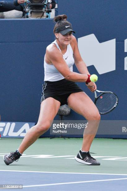 Bianca Andreescu of Canada plays against Daria Kasatkina during the round 32 match of championship in the Rogers Cup tennis tournament at Aviva...