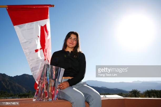 Bianca Andreescu of Canada poses with the winner's trophy after defeating Angelique Kerber of Germany in the women's singles final on Day 14 of the...