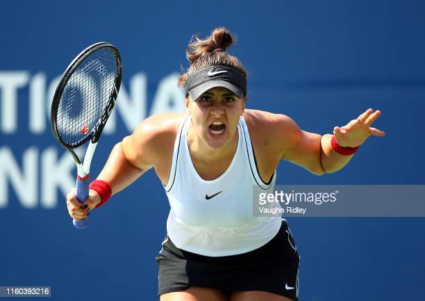 Bianca Andreescu of Canada reacts after winning a point against Kiki Bertens of The Netherlands during a third round match on Day 6 of the Rogers Cup...