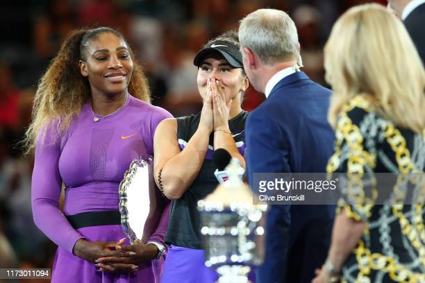 Bianca Andreescu of Canada reacts as she is interviewed by ESPN Reporter Tom Rinaldi during the trophy presentation ceremony after winning the...