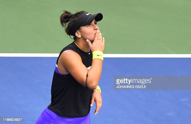 TOPSHOT Bianca Andreescu of Canada reacts as she wins against Serena Williams of the US during the Women's Singles Finals match at the 2019 US Open...