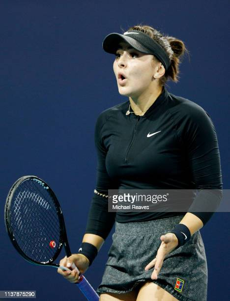 Bianca Andreescu of Canada reacts during her match against Angelique Kerber of Germany during Day 6 of the Miami Open Presented by Itau at Hard Rock...