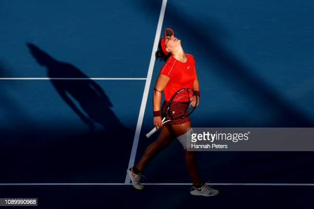 Bianca Andreescu of Canada reacts during her semi final game against Suwei Hsieh of China at the ASB Classic on January 05 2019 in Auckland New...