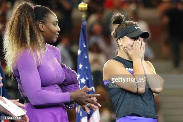 Bianca Andreescu of Canada reacts during the trophy presentation ceremony after winning the Women's Singles final against Serena Williams of the...
