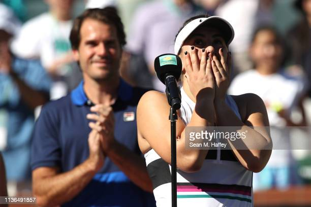 Bianca Andreescu of Canada reacts to defeating Angelique Kerber of Germany during their women's singles final match at the BNP Paribas Open at the...