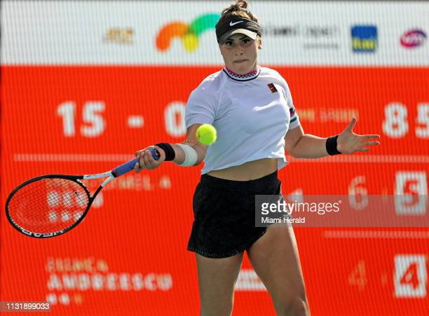 Bianca Andreescu of Canada returns a shot against IrinaCamelia Begu of Romania during their match at Miami Open tennis tournament on Thursday March...
