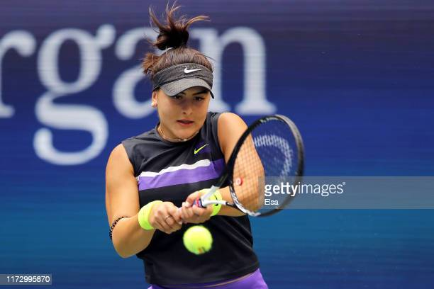 Bianca Andreescu of Canada returns a shot during her Women's Single's final match against Serena Williams of the United States on day thirteen of the...