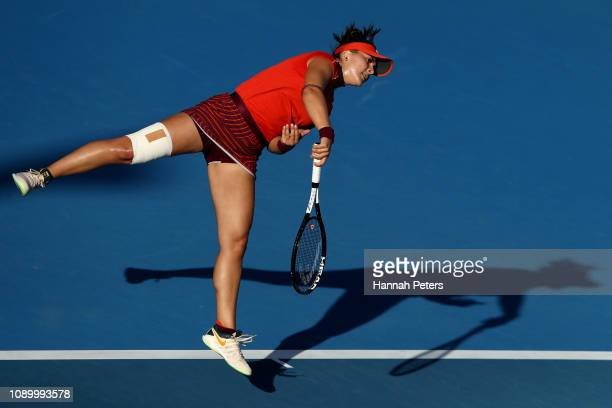 Bianca Andreescu of Canada serves during her semi final game against Suwei Hsieh of China at the ASB Classic on January 05 2019 in Auckland New...
