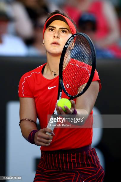 Bianca Andreescu of Canada serves during the Women's Final against Julia Goerges of Germanyon January 06 2019 in Auckland New Zealand