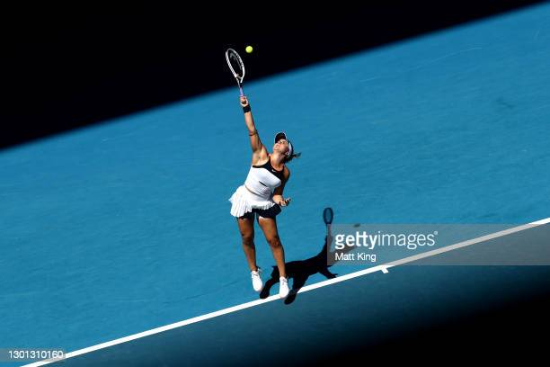 Bianca Andreescu of Canada serves in her Women's Singles second round match against Su-Wei Hsieh of Chinese Taipei during day three of the 2021...