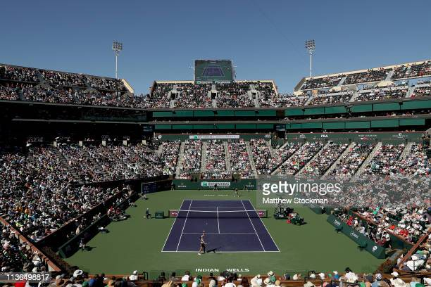 Bianca Andreescu of Canada serves to Angelique Kerber of Germany during the women's final of the BNP Paribas Open at the Indian Wells Tennis Garden...