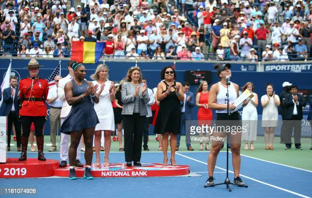 Bianca Andreescu of Canada speaks to the crowd following her victory over Serena Williams of the United States in the final match on Day 9 of the...