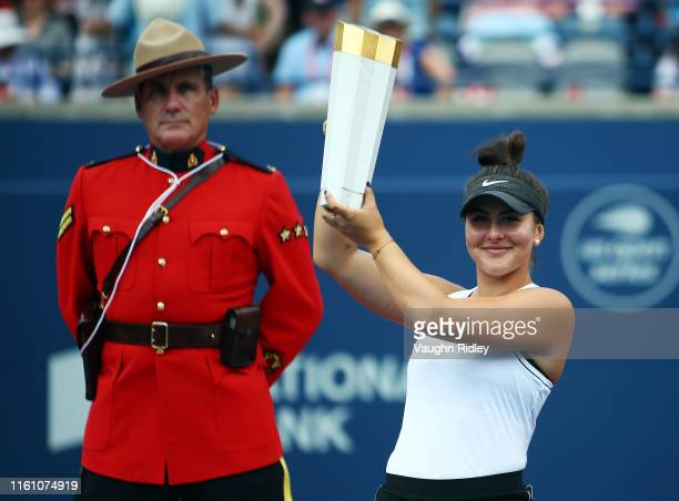 Bianca Andreescu of Canada with the winners trophy following her victory over Serena Williams of the United States in the final match on Day 9 of the...