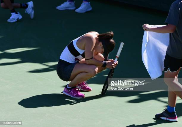 Bianca Andreescu on the court after winning a point in a finals match during the Oracle Challenger Series on January 27 played at the Newport Beach...
