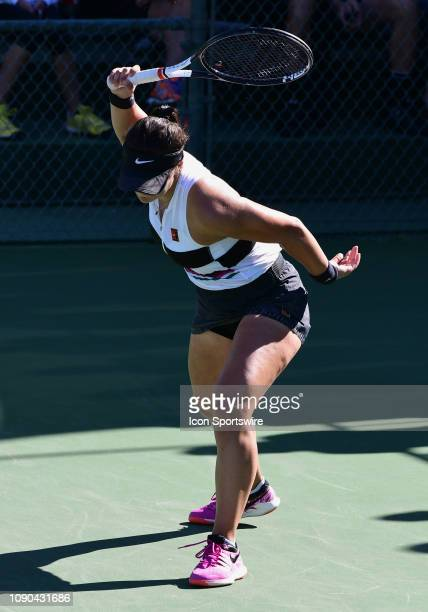 Bianca Andreescu reacts after losing a point in a finals match during the Oracle Challenger Series on January 27 played at the Newport Beach Tennis...