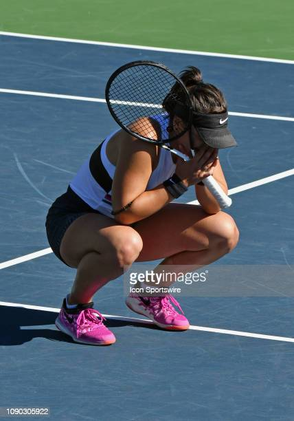 Bianca Andreescu reacts on the court after defeating Jessica Pegula in three sets to become champion of the 2019 Oracle Challenger Series played on...