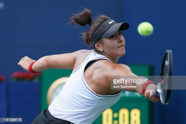 Bianca Andreescu returns the ball during the Rogers Cup tennis tournament final on August 11 at Aviva Centre in Toronto ON Canada