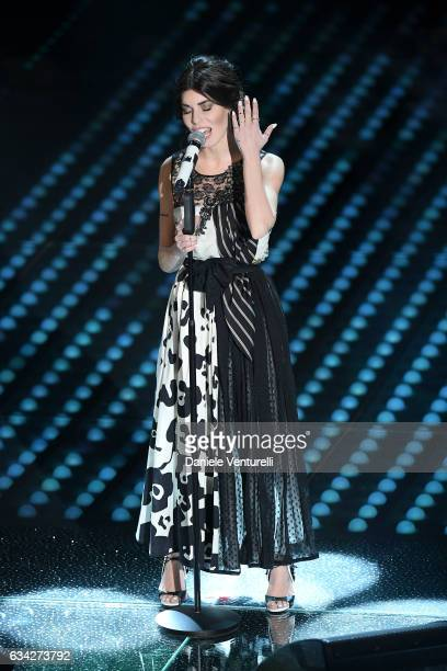 Bianca Atzei attends the second night of the 67th Sanremo Festival 2017 at Teatro Ariston on February 8 2017 in Sanremo Italy