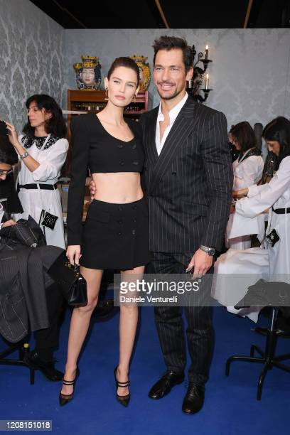 Bianca Balti and David Gandy attend the runway at the Dolce Gabbana fashion show on February 23 2020 in Milan Italy