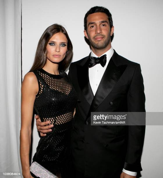 Bianca Balti and guest are seen during the cocktail reception of amfAR Gala at La Permanente on September 22, 2018 in Milan, Italy.