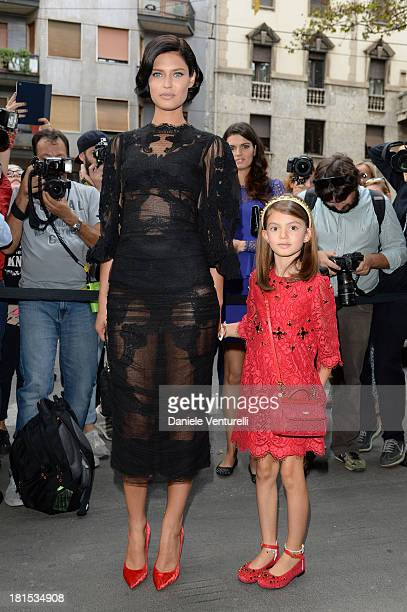 Bianca Balti and her daughter Matilde arrive at the Dolce & Gabbana show as a part of Milan Fashion Week Womenswear Spring/Summer 2014 on September...