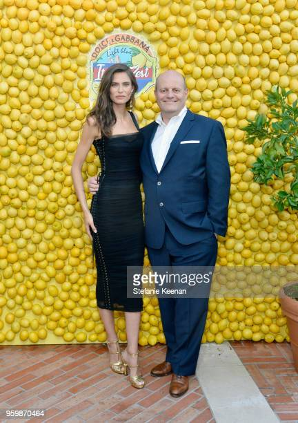 Bianca Balti and President of the Beauty Prestige Group Jean-Marc Plisson attend the Dolce & Gabbana Light Blue Italian Zest Launch Event at the...
