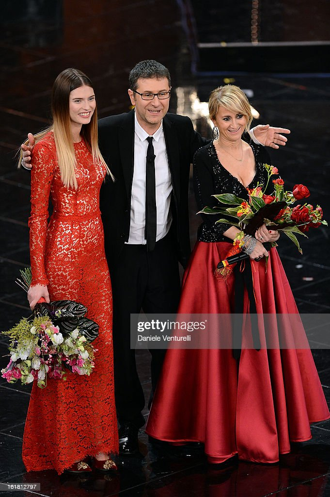 Bianca Balti, Fabio Fazio and Luciana Littizzetto attend the closing night of the 63rd Sanremo Song Festival at the Ariston Theatre on February 16, 2013 in Sanremo, Italy.
