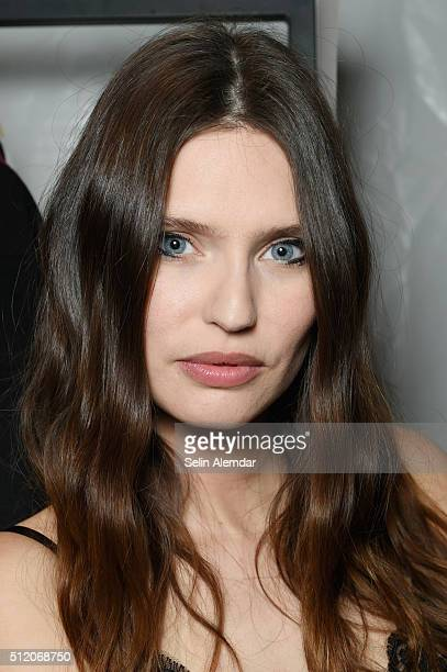 Bianca Balti is seen backstage ahead of the Fausto Puglisi show during Milan Fashion Week Fall/Winter 2016/17 on February 24, 2016 in Milan, Italy.
