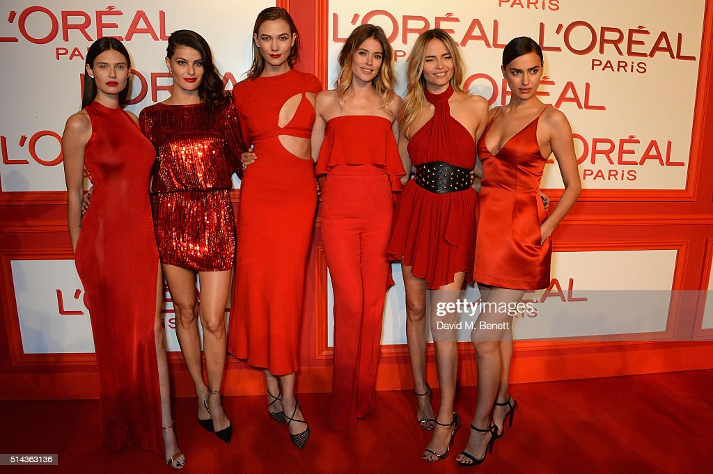 Bianca Balti, Isabeli Fontana, Karlie Kloss, Doutzen Kroes, Natasha Poly and Irina Shayk attend the Red Obsession party in Paris to celebrate L'Oreal Paris's partnership with Paris Fashion Week. L'Oreal Paris spokesmodels accessorised with accents of red to celebrate the launch of the new Color Riche La Palette. on March 8, 2016 in Paris, France.