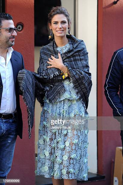 Bianca Balti sighting on the set of a Dolce Gabbana commercial on October 21 2011 in Portofino Italy