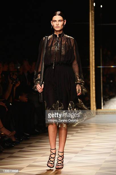 Bianca Balti walks the runway at the Salvatore Ferragamo Autumn/Winter 2012/2013 fashion show as part of Milan Womenswear Fashion Week on February...