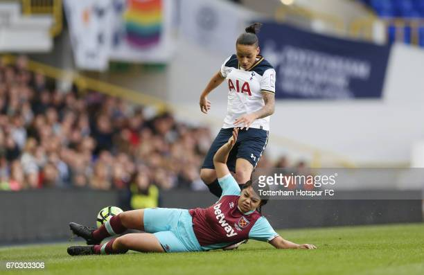 Bianca Baptiste of Tottenham in action during the FA Women's Premier League match between Tottenham Hotspur and West Ham United at White Hart Lane on...