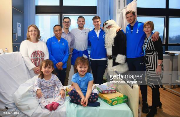 Bianca Baptiste Toby Alderweireld Juan Foyth and Jan Vertonghen meet young patients during a Tottenham Hotspur player visit at North Middlesex...