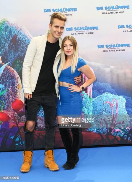 "Bianca ""Bibi"" Heinicke and Julian Classen arrives at the ""Die Schluempfe - Das verlorene Dorf' Berlin premiere at Sony Centre on April 2, 2017 in..."